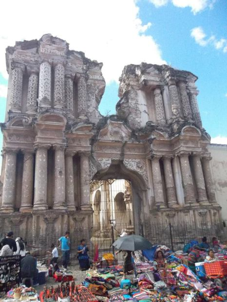 The ruins of one of Antigua's many churches. A market gathers out front on weekends.