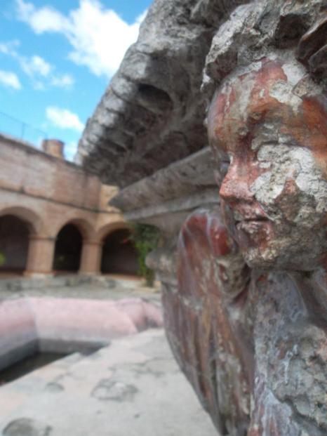 Detail on a fountain at the ruins of Convento de la Merced in Antigua