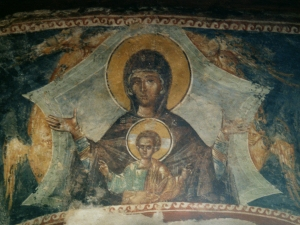 The Virgin and Child fresco from a burial niche in the Church of the Chora - Kariye Cami -  in Istanbul. (stock.xchng)