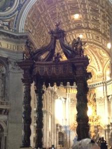 Bernini's famous baldacchino inside of St. Peter's Basilica, Rome.