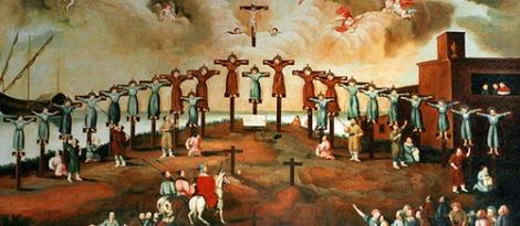 Macau - Die Kolonie der Gegensätze ist nun wieder ein Teil von ChinaMuseum in der alten Jesuiten-Kirche: Die Märtyrer von Japan; Öl auf Leinwand; unbekannter Künstler; portugiesisch; 1640.